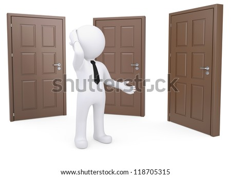 Thoughtful white human standing near the three doors. Isolated render on a white background - stock photo