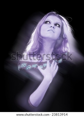 Thoughtful woman ghost in back light - stock photo