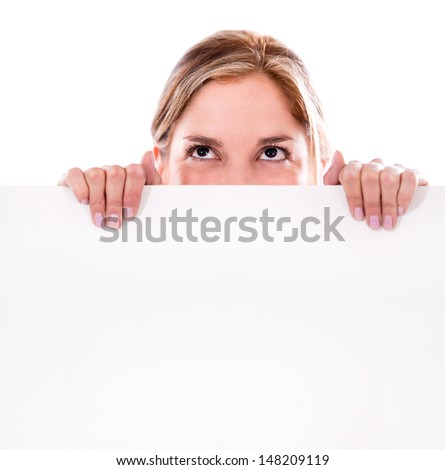Thoughtful woman holding a banner - isolated over white background