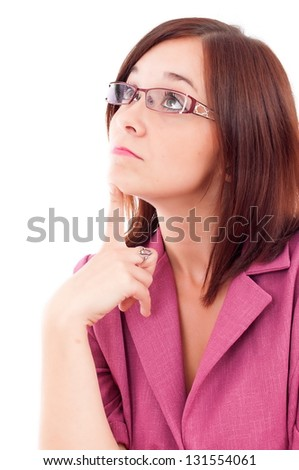 Thoughtful woman looking up isolated over white background - stock photo