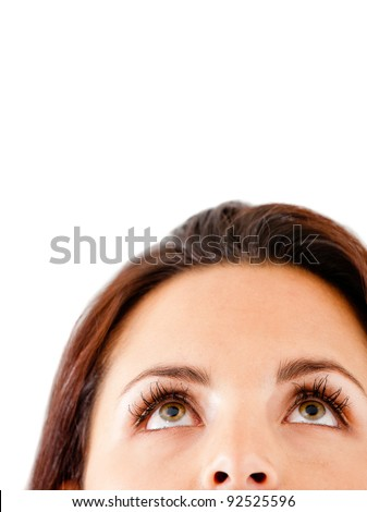 Thoughtful woman looking up - isolated over white background