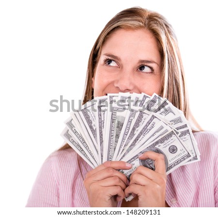 Thoughtful woman thinking how to spend her money - isolated over white - stock photo
