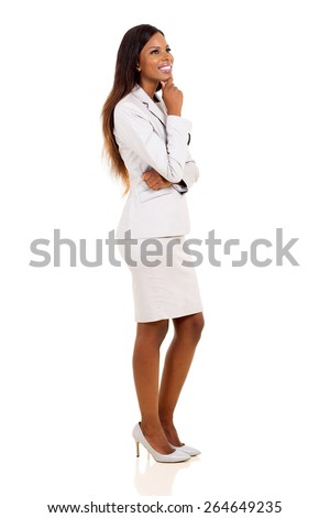 thoughtful young african businesswoman looking up isolated on white - stock photo