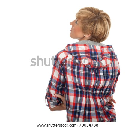 thoughtful young blond hair woman with crossed arms in sweatshirt  in check with hood