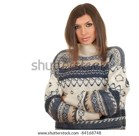 thoughtful young, long hair woman in warm sweater - stock photo