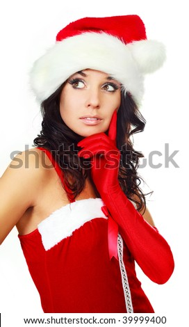 thoughtful young woman dressed as Santa against white background - stock photo