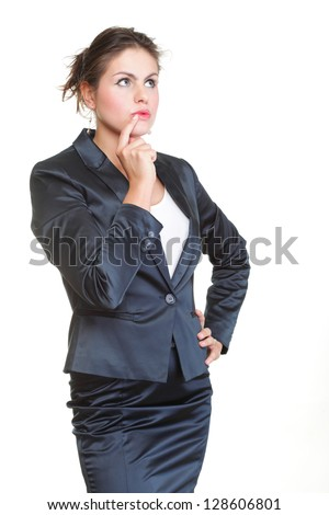 Thoughtful young woman, isolated over a white background