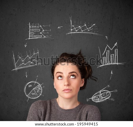 Thoughtful young woman with drawn charts circulating around her head - stock photo