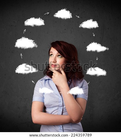 Thoughtful young woman with drawn clouds circulating around her head - stock photo