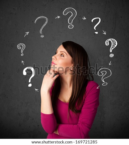 Thoughtful young woman with drawn question marks circulating around her head - stock photo