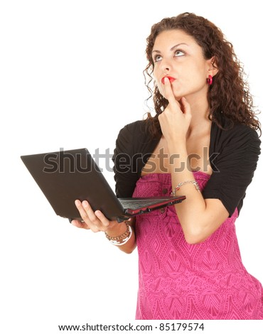thoughtful young woman with laptop, white background, series - stock photo