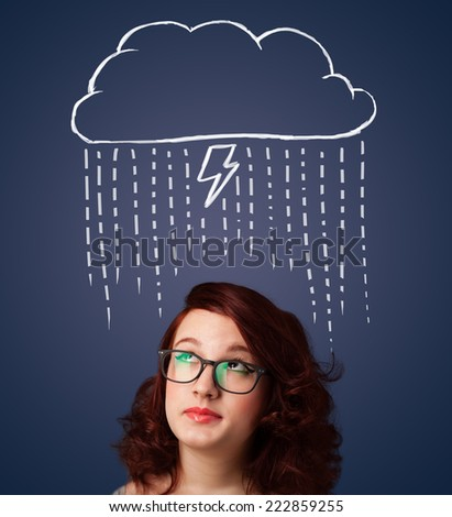Thoughtful young woman with thundercloud above her head - stock photo