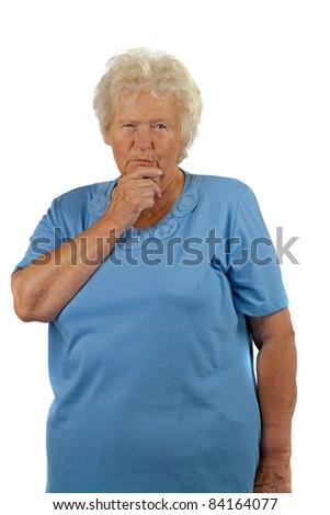 Thoughtfully senior woman on white background - stock photo