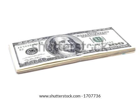 Thousand Dollars Isolated - stock photo