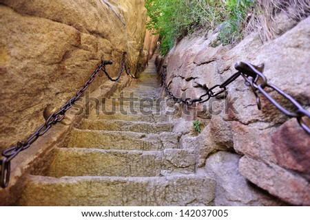 thousand feet cliff at mount Hua - stock photo