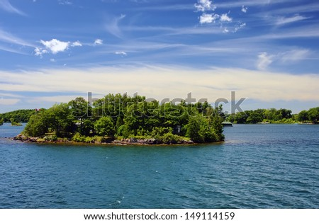 Thousand Islands National Park Ontario Canada near Kingston across from New York State, St,  Lawrence river - stock photo