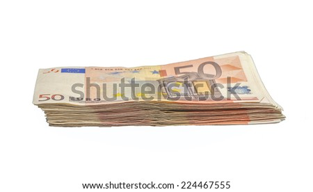 Thousands of euros on a pile in fifty bills - stock photo
