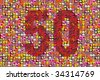 thousands of photos make a mosaic picture of the number 50 - stock photo