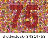 thousands of photos make the mosaic of the number 75 - stock photo