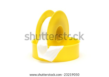 Thread seal tape, isolated on white - stock photo