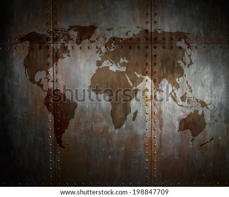 threadbare rusty  steel covering with rivet,  iron background with world map - stock photo