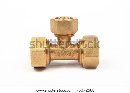 Threaded Copper pipe fitting - stock photo