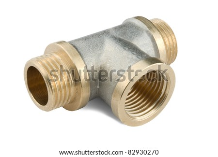 threaded pipe fitting isolated on a white background - stock photo