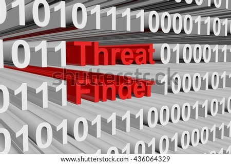 Threat Finder in the form of binary code, 3D illustration