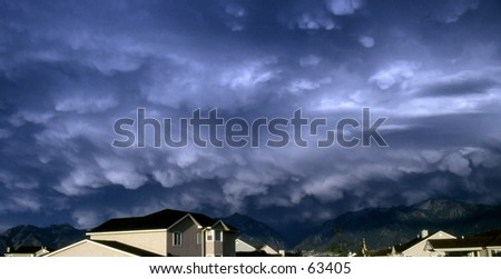 Threatening sky over homes