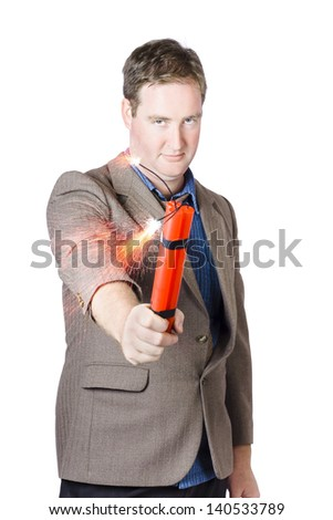 Threating office worker holding flaming bomb when demanding strike action over white background - stock photo