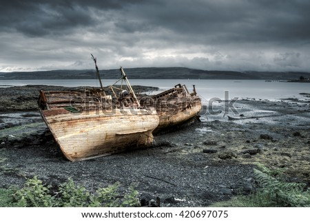 Three abandoned boats in Salen, Isle of Mull, Scotland
