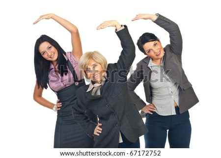 Three active business women stretching their hands isolated on white background - stock photo