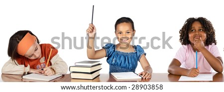 Three adorable students in class on a over white background
