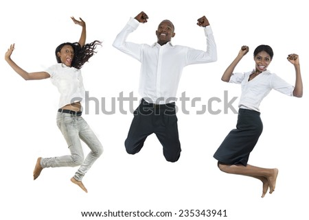 Three african people jumping high, Studio Shot