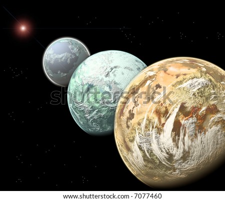 Three alineated alien planets - stock photo