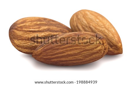 Three almonds isolated on white background for package design
