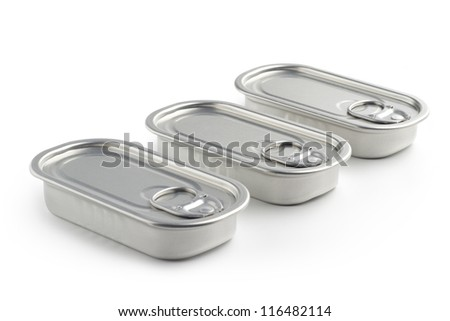 three aluminum cans isolated on white background