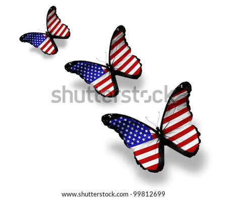 Three american flag butterflies, isolated on white - stock photo