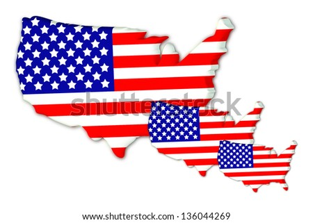 Three American flags on a white background