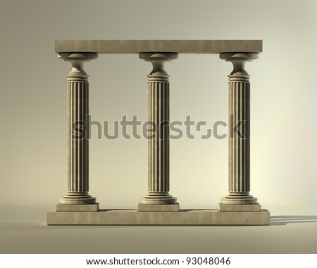 Three ancient columns of marble on a white background