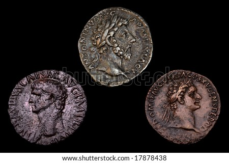 Three Ancient Roman Coins - stock photo