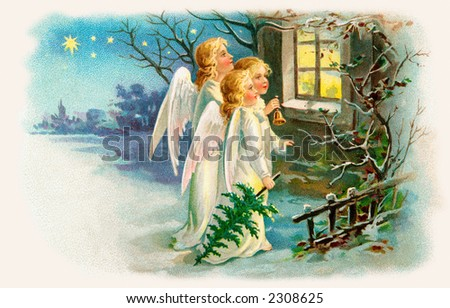 Three angels singing outside a cottage window on Christmas eve - an early 1900's vintage illustration - stock photo