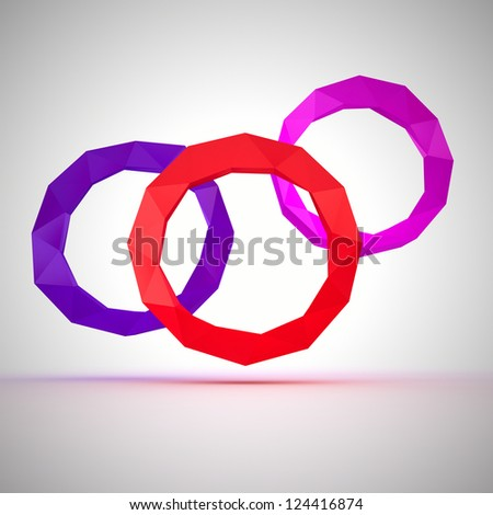 Three angular circles of different colors