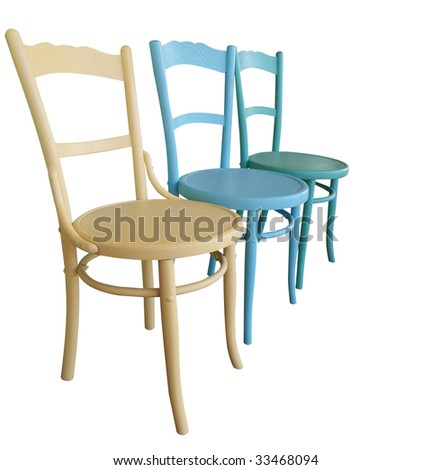 Three Antique Painted Chairs isolated with clipping path - Painted Furniture Stock Images, Royalty-Free Images & Vectors