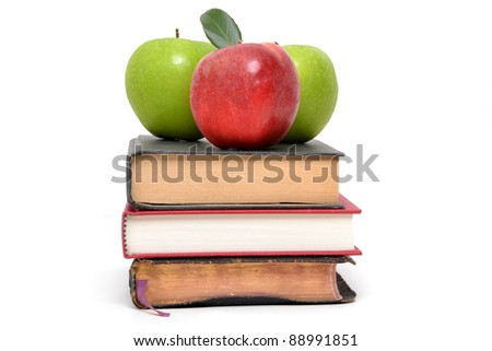 three apples and three books white background