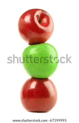 Three apples fruit pile isolated on the white background