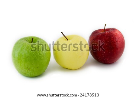 Three apples-green, yellow, red on a white background.Isolated
