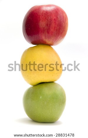 Three apples put vertically in traffic light form, isolated
