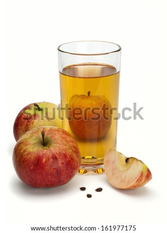 Three apples, segments, seeds and juice in a glass
