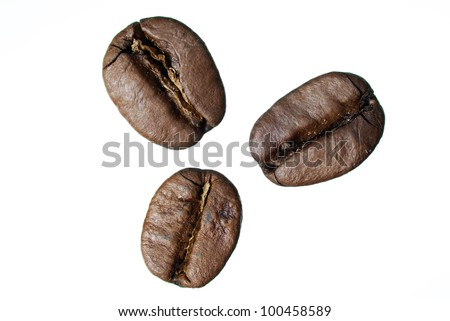 Three arabica coffee beans on white background.